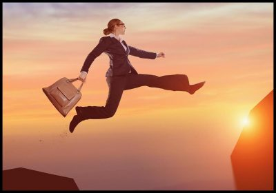 Professional Woman Jumping to new Opportunity