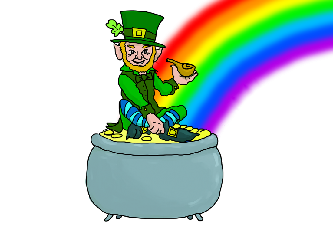 A leprechaun resting on a pot of gold.